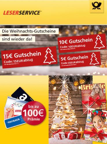 Deutsche Post Leserservice: 15€ Rabatt (MBW 75€), 10€ Rabatt (MBW 60€), 5€ ansonsten Beispiel: 104,60€ für 9000°P oder Amazon & Bestchoice