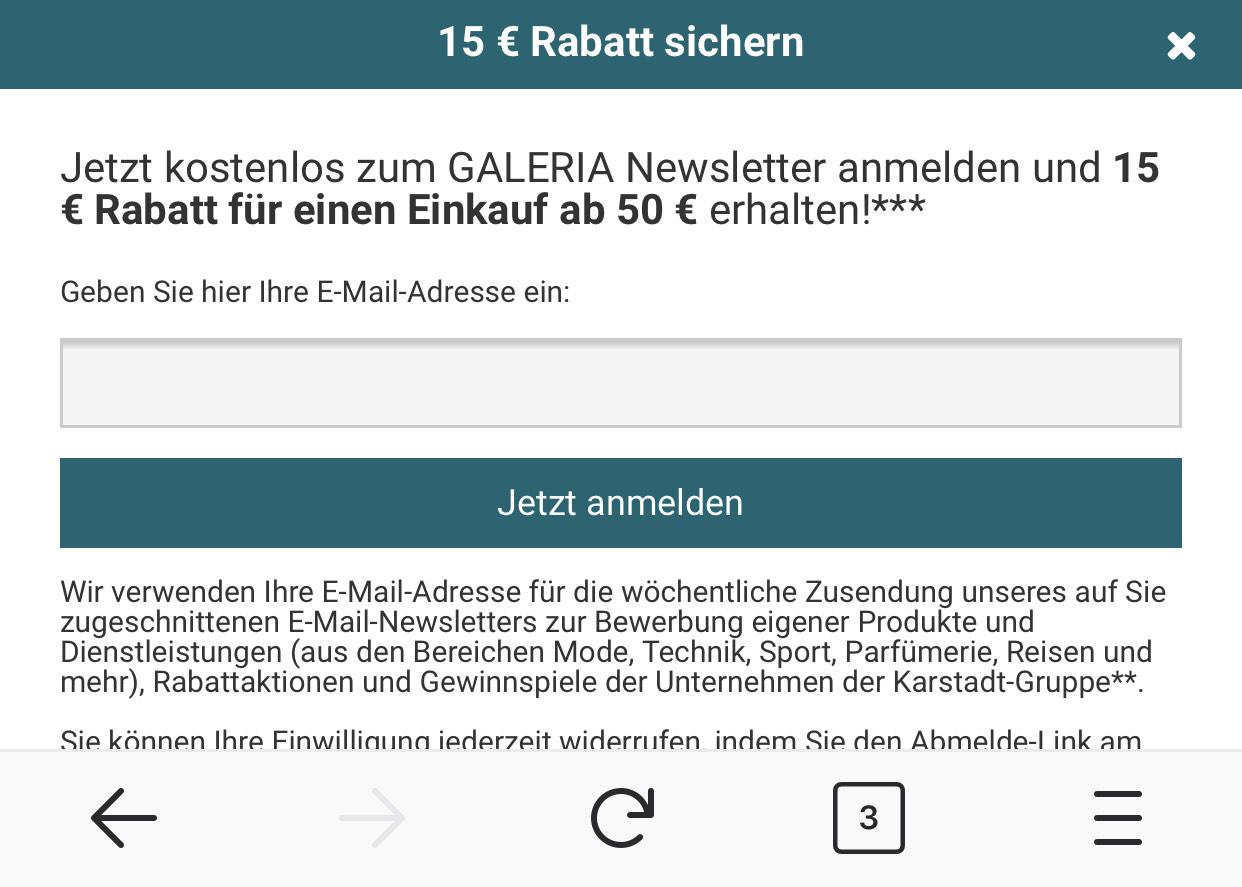 [Galeria Kaufhof Karstadt] 15€ Rabatt bei 50€ Mindestbestellwert