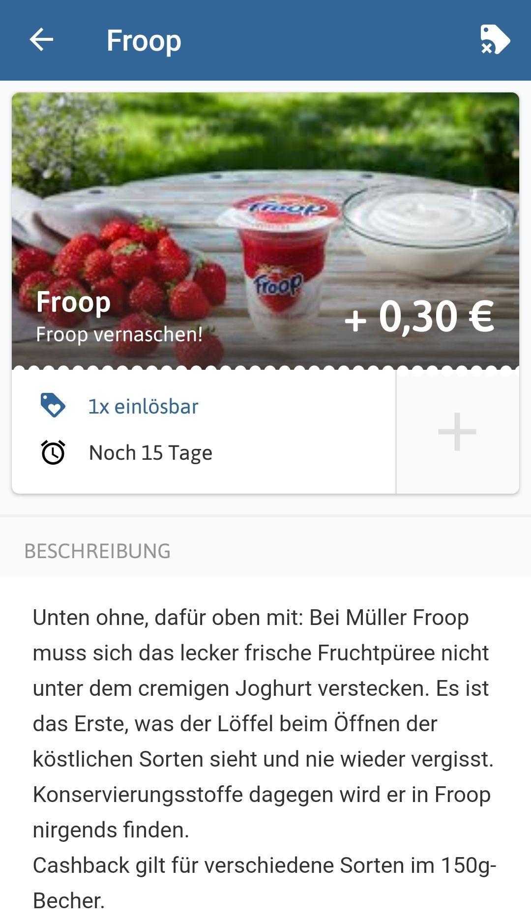 Reebate Edeka 1x Froop Joghurt gratis