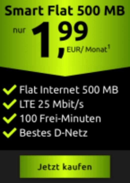 [Telekom-Netz] Crash 500MB LTE + 100 Freiminuten für 1,99€ / Monat (24 Monate Laufzeit)