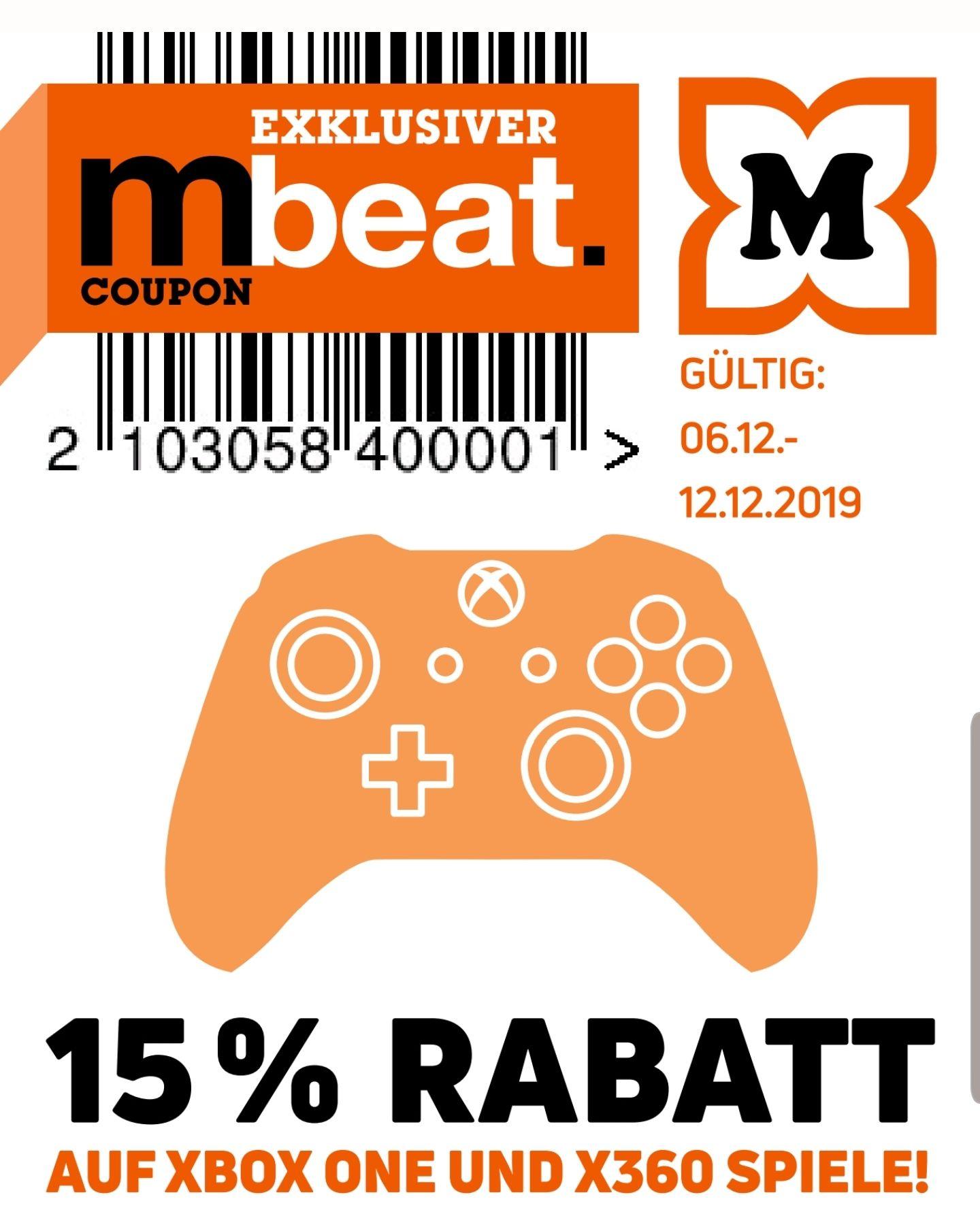 15% auf alle Xbox One & 360 Spiele z.B. GTA 5 für 16,99€ [Offline Müller ab 06.12.]
