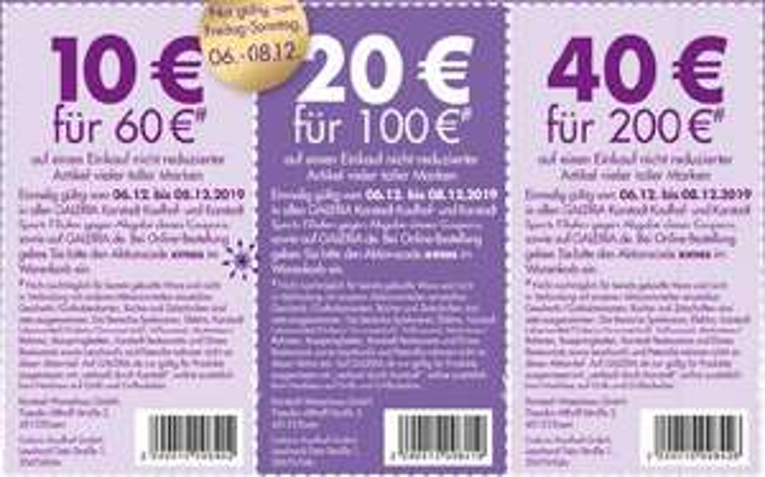 [Galeria Kaufhof Karstadt] 10€ bei 60€, 20€ bei 100€ und 40€ bei 200€ Einkaufswert
