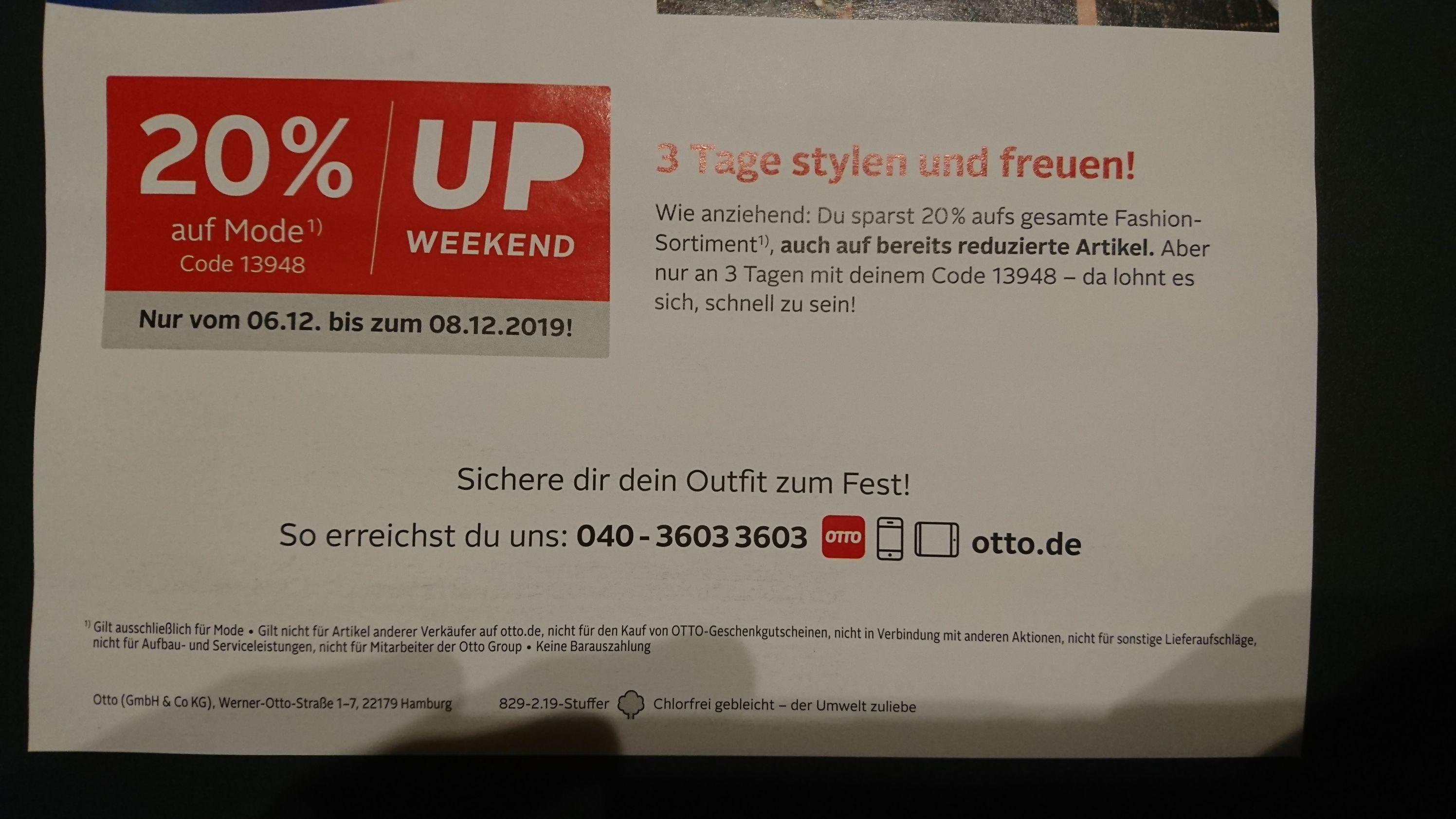 Versandkostenfrei 20% auf Mode bei Otto (auch Bestandskunden)