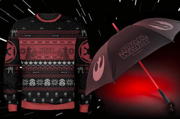 Star Wars Paket: Laserschwert Regenschirm + Xmas-Strickpullover