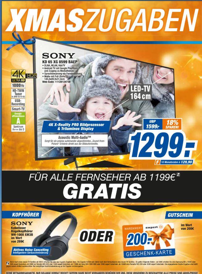 [Expert Technikmarkt ab 06.12] Sony KD-65XG8599 XG85 LED 4K Ultra HD HDR Smart TV Android TV + Sony WH-1000XM3 Bluetooth-Kopfhörer für