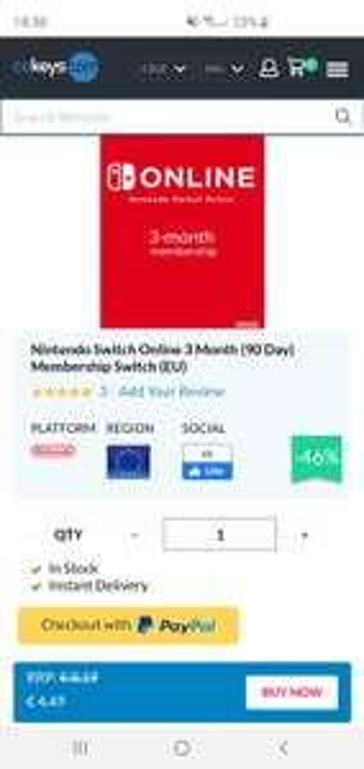 Nintendo Switch 3 Monate Online [CDKEYS]