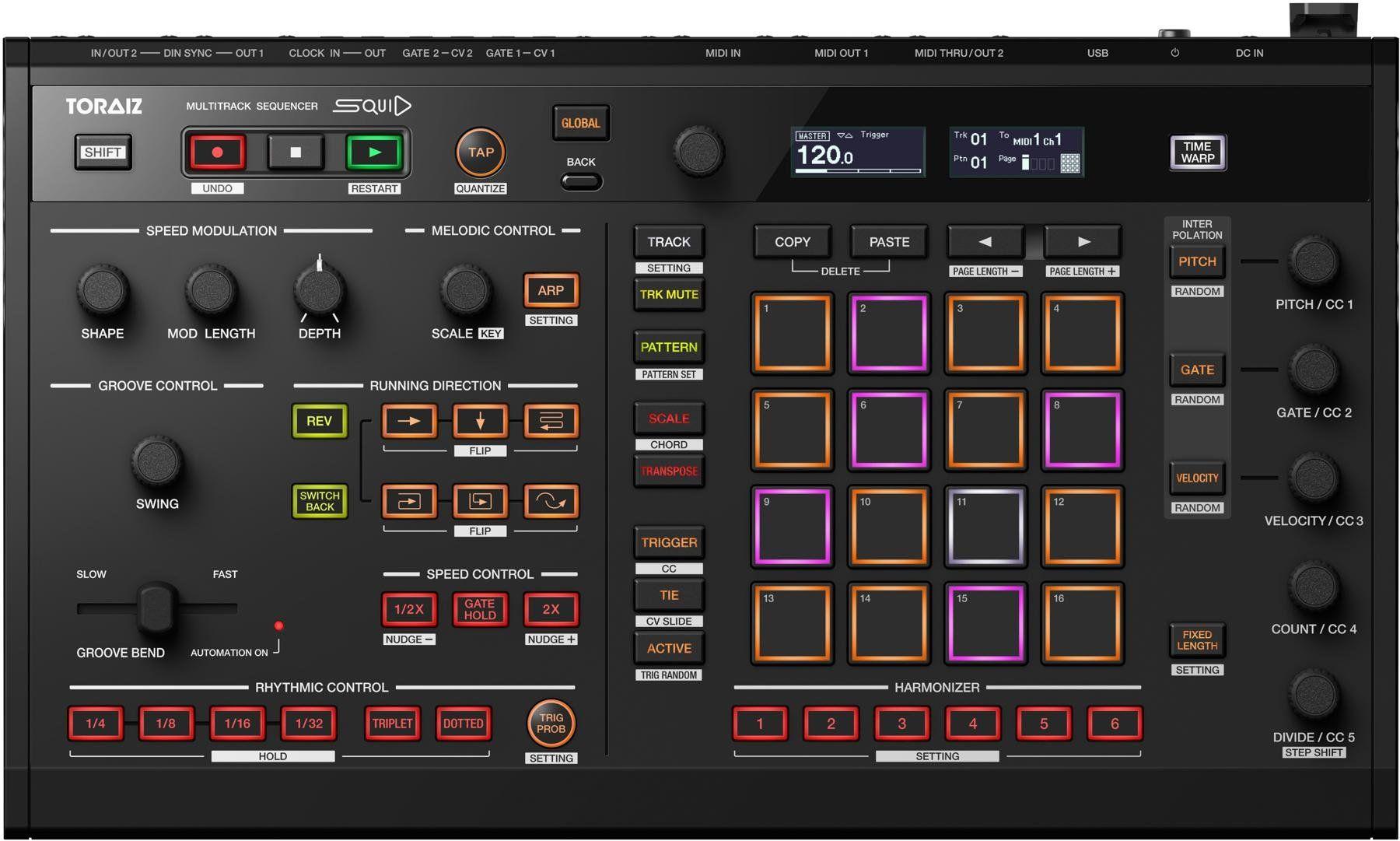 Pioneer Toraiz Squid: Sequenzer (2019 Release, 16 RGB Pads, 64 Pattern / Steps, MIDI Ein-/Ausgang, Interpolation)