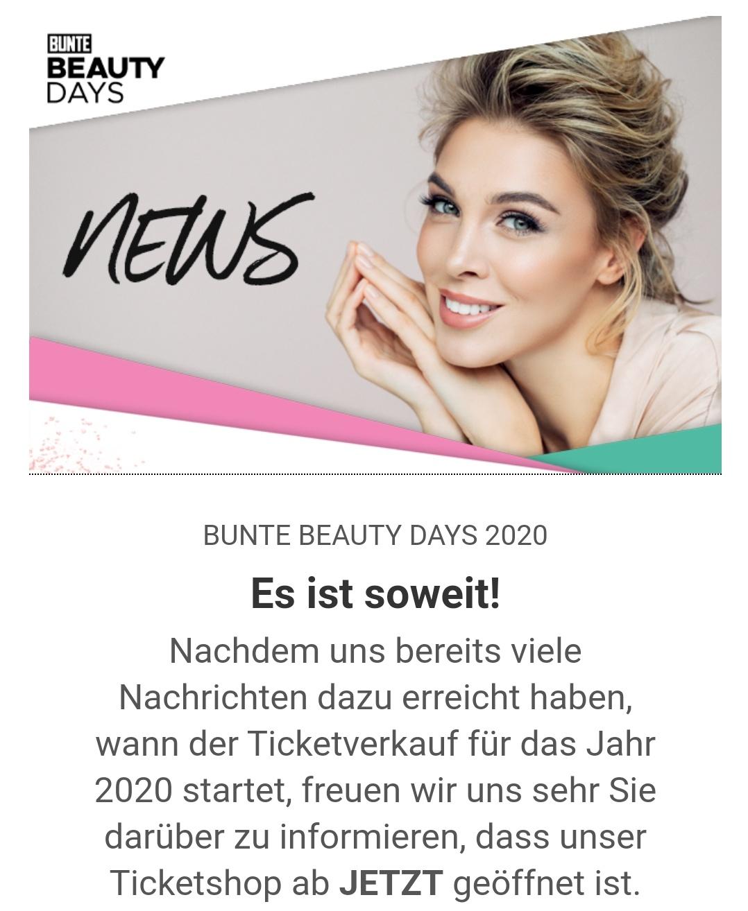 20% Rabatt auf ein Ticket für die BUNTE Beauty Days in München 2020