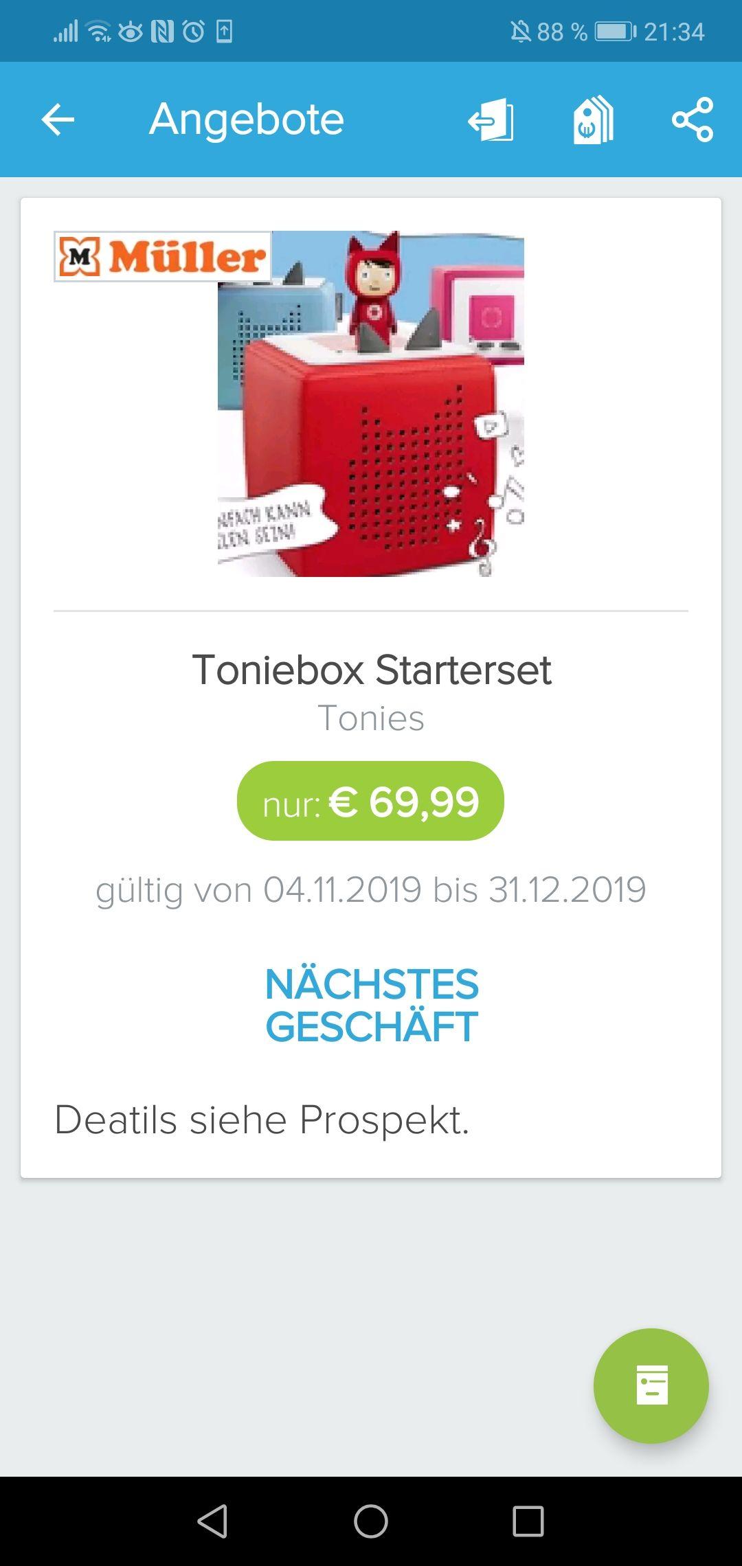 Toniebox Starterset bei Müller im Angebot für 69,99