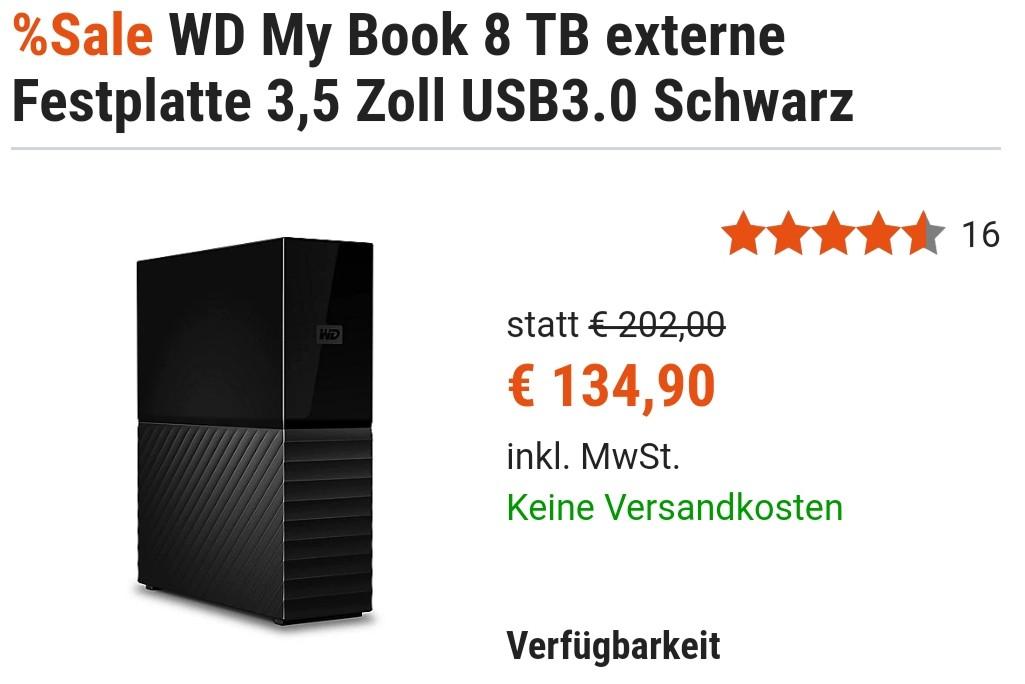WD My Book 8TB für 121,90€ [lokal] - Black WE Restbestand, NAS Shucking