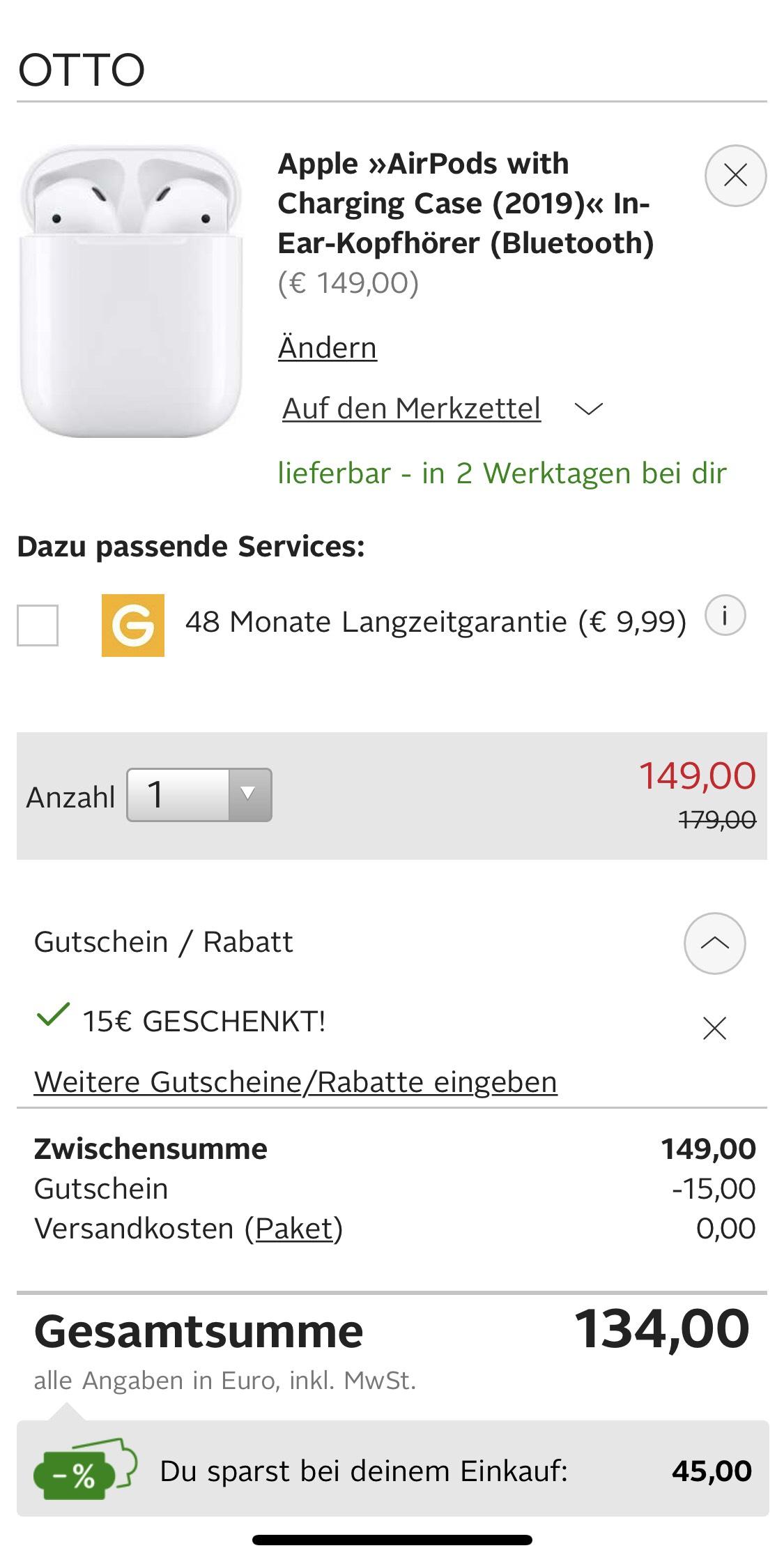 Apple Air Pods - Otto Neukunden - 15€ Rabatt