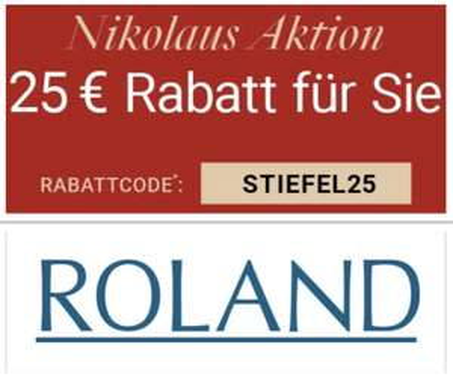 Roland Schuhe: 25€ Rabatt auf Alles auch auf SALE ab 99,95€ - bis 08.12.