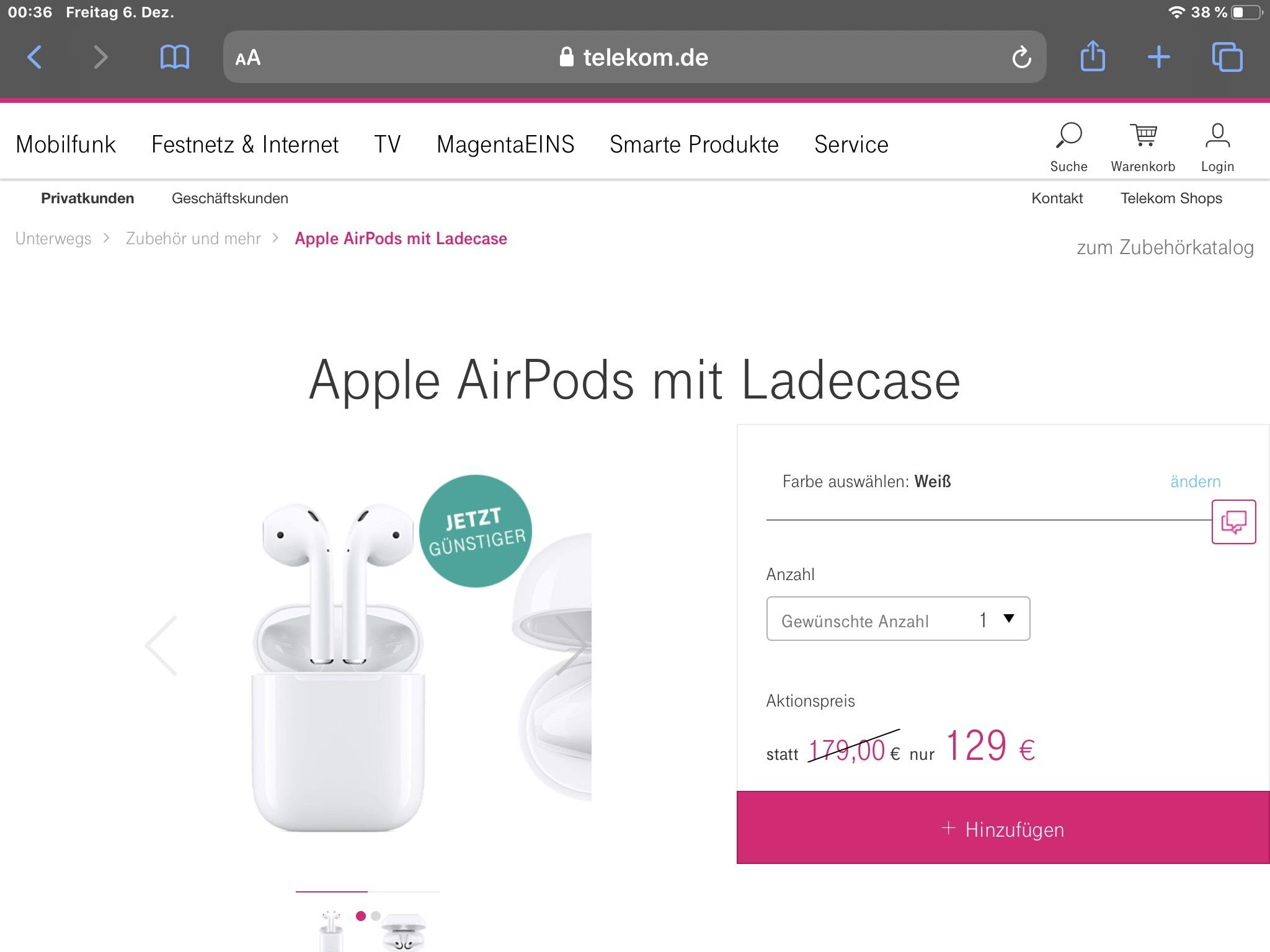 Apple Airpods mit kabelgebundenem Lade-Case