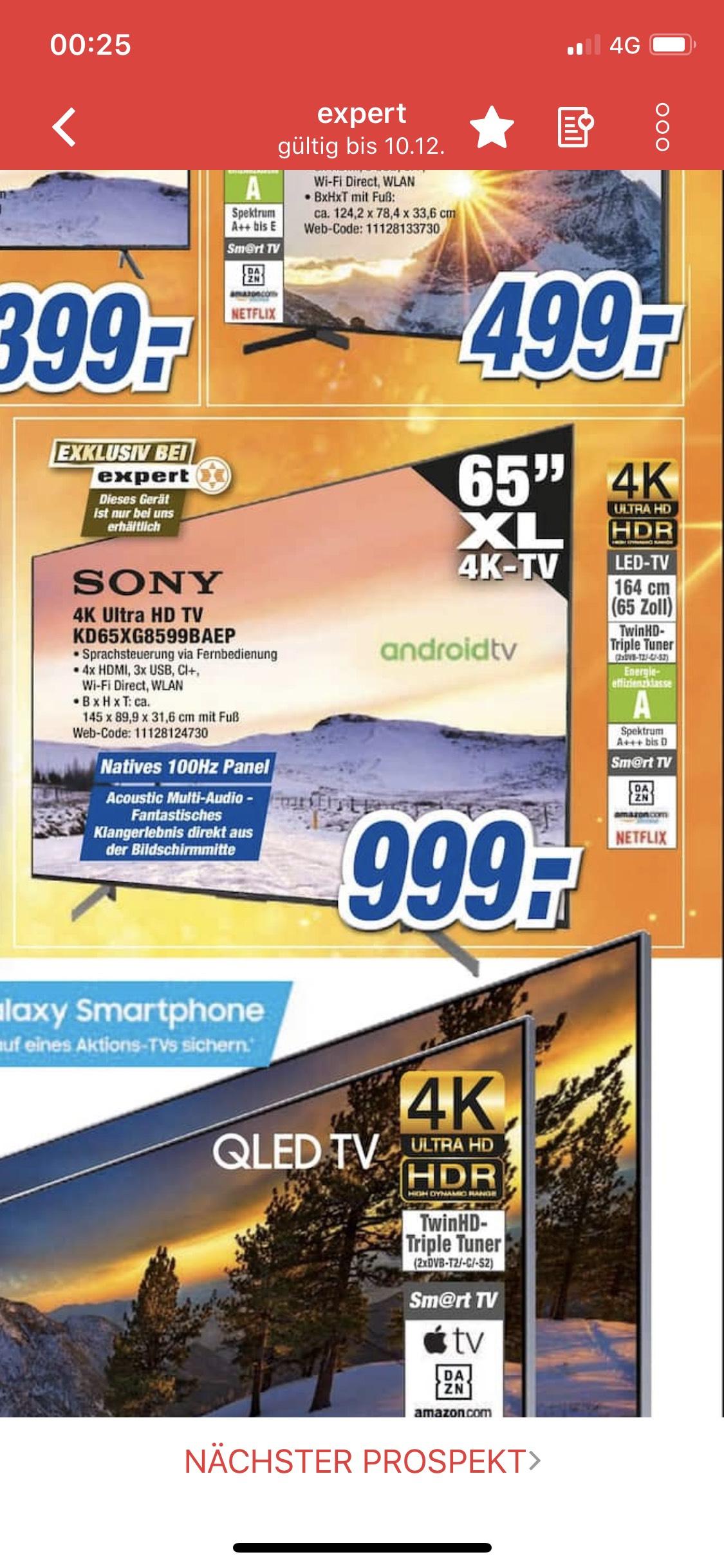 (LOKAL) Sony KD 65 XG 8599 für 999 € im Expert in u.a. Neuss, Bergheim mit 100 hz nativ, locam dimming