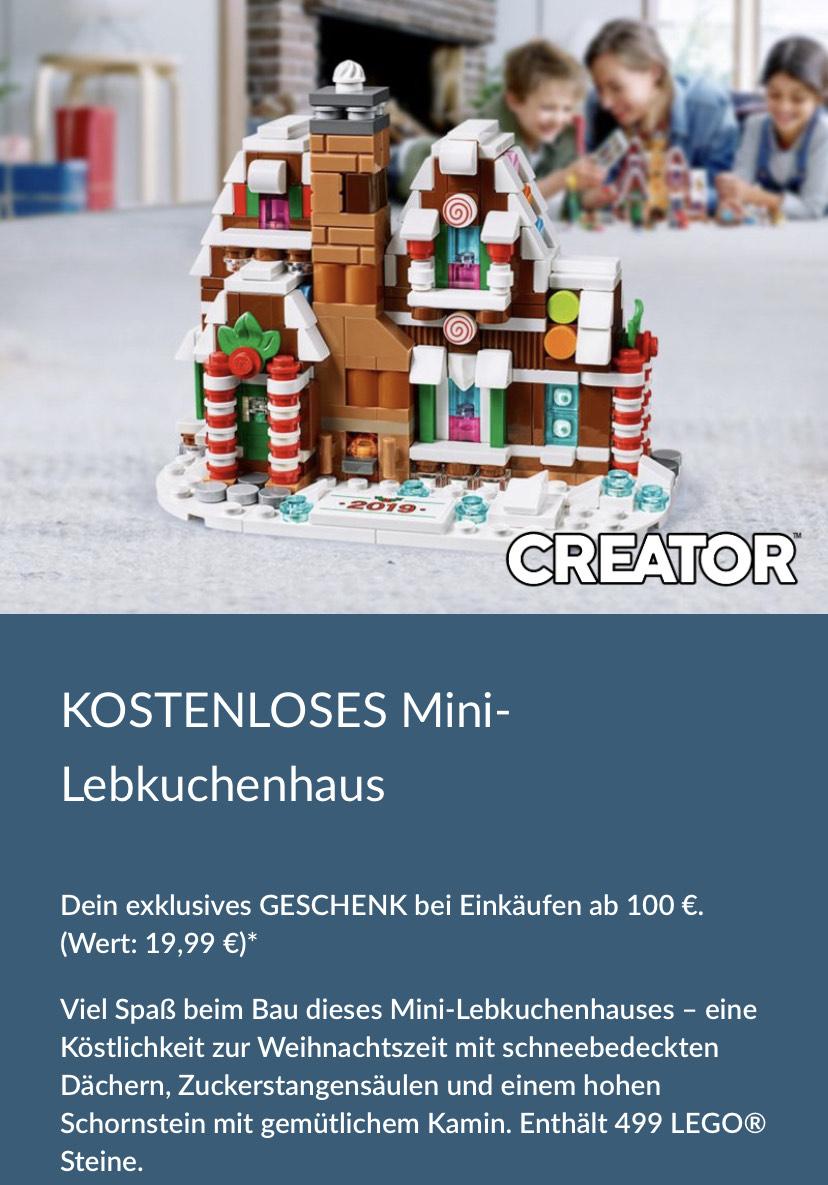 Lego Shop Mini Lebkuchenhaus ab 100€ gratis.