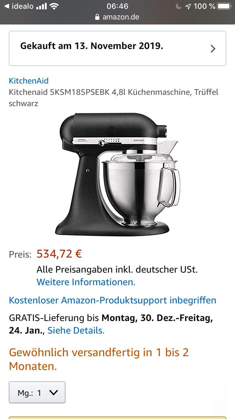 Kitchenaid 5KSM185PSEBK 4,8l Küchenmaschine, Trüffel schwarz