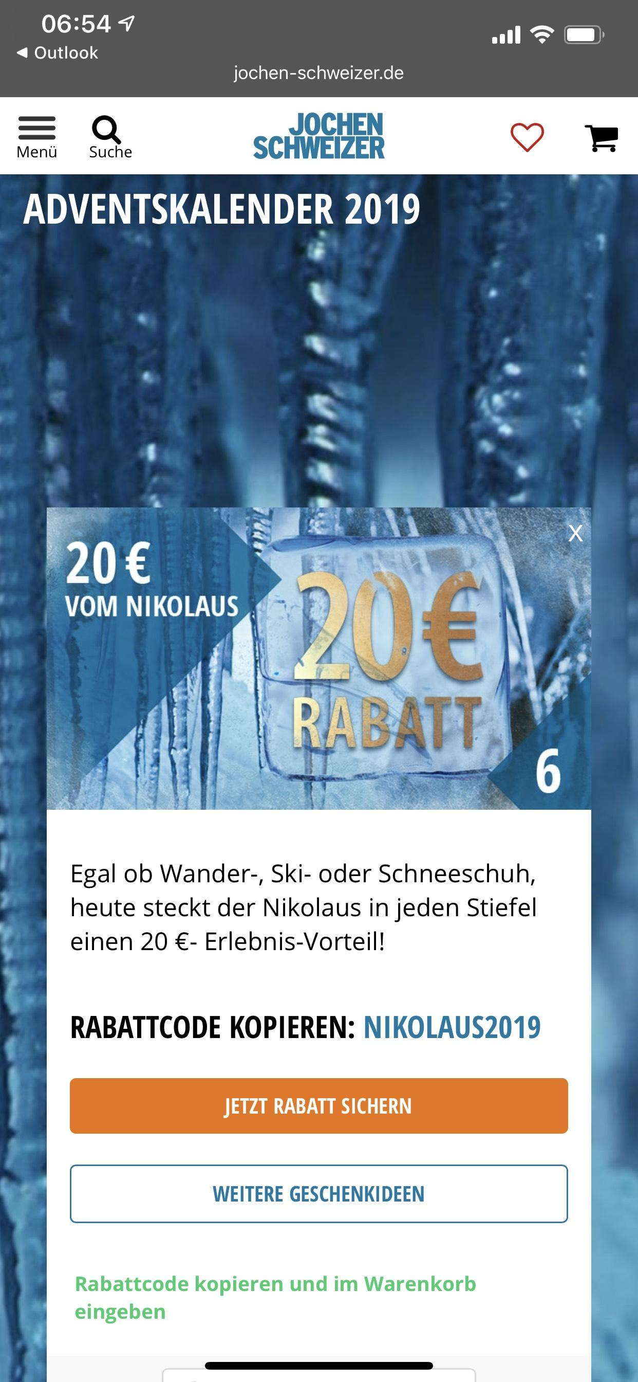 20€ Jochen-Schweizer Gutschein zum Nikolaus