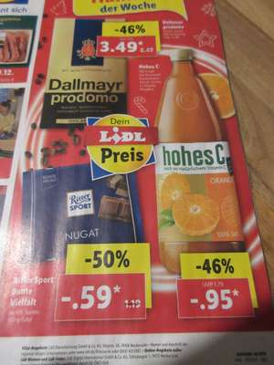 Lidl - Hohes C - 0,95 Euro / Ritter Sport 0,59 Euro