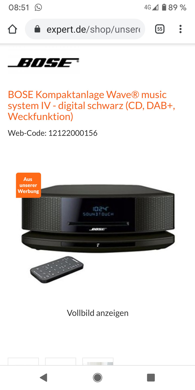 BOSE Kompaktanlage Wave® music system IV inkl. Dock- digital schwarz (CD, DAB+, Weckfunktion) alle Farben !!!