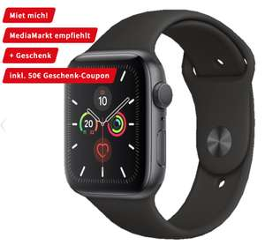 Apple Watch 5 44mm GPS in Schwarz für eff. 405€ möglich