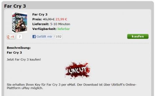 [PC] [uPlay]  FarCry 3 Uncut Key bei mmoga.de für 23,99€