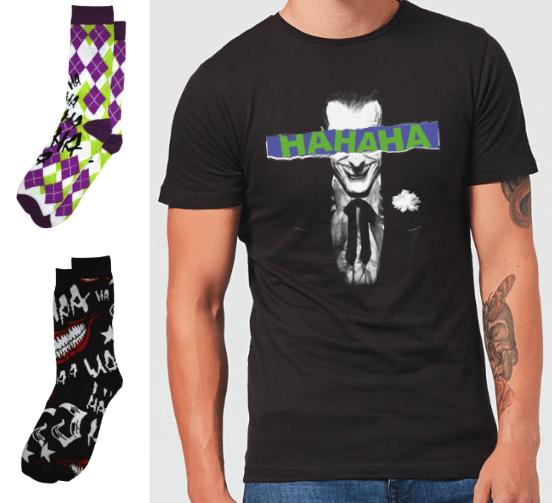 2 paar Socken + 1 DC T-Shirt, zB.: Joker + kostenlose Lieferung