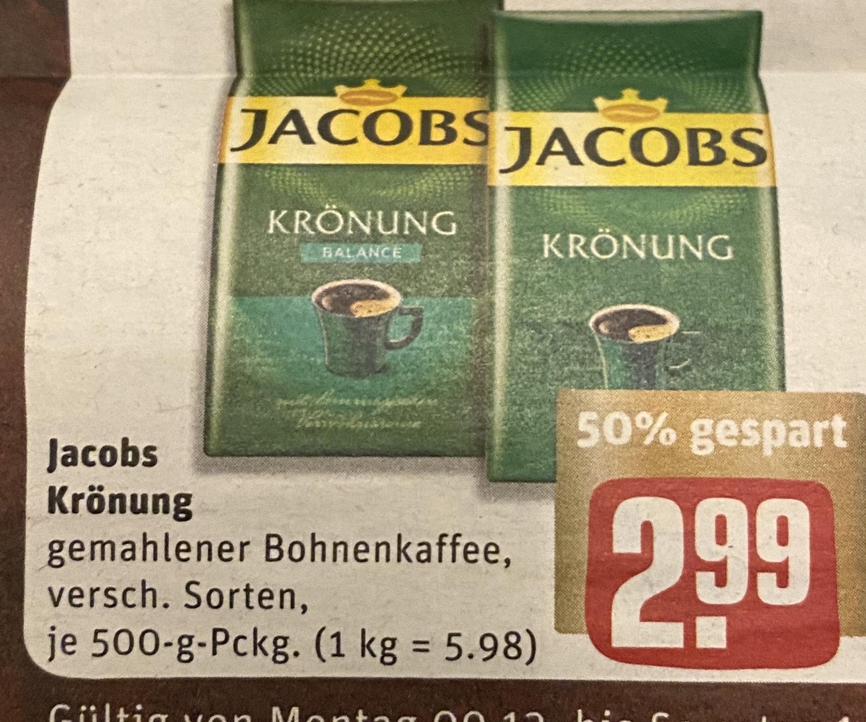 [Rewe Penny Marktkauf] Jacobs Krönung 500g verschiedene Sorten Kaffee für 2.99€ | 1kg Melitta Barista Kaffeebohnen für 6.99€ ab 09.12.2019