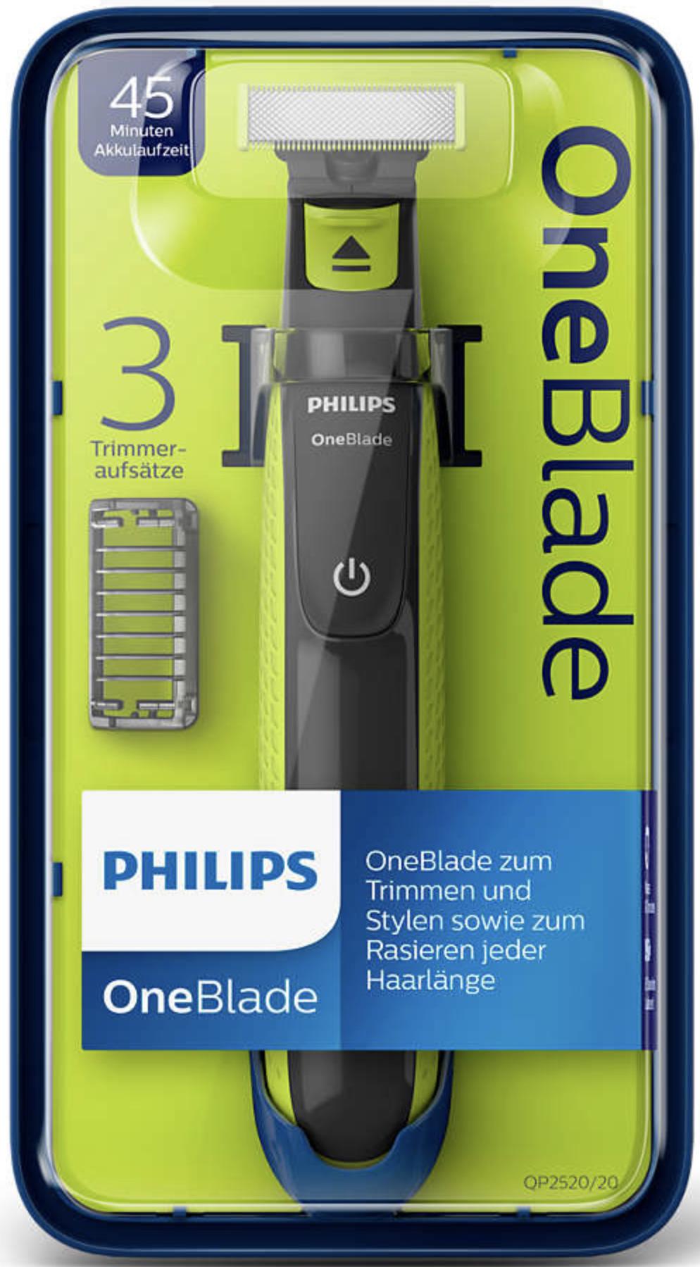 PHILIPS OneBlade QP2520/20 Trimmer Rasierer 3 Trimmeraufsätze (evtl. leichte Verpackungsmängel) für 22,99€ inkl. Versandkosten