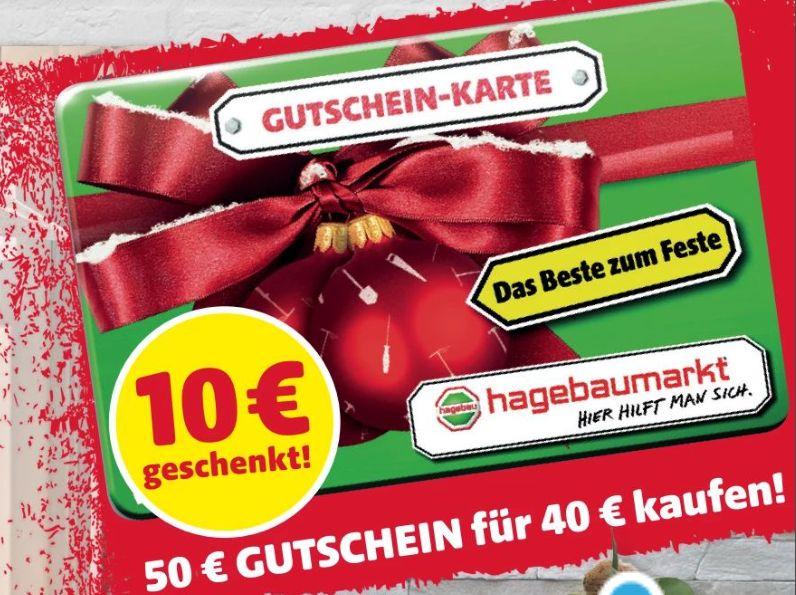 [Hagebaumarkt] 50€ Gutschein-Karte für 40,-€
