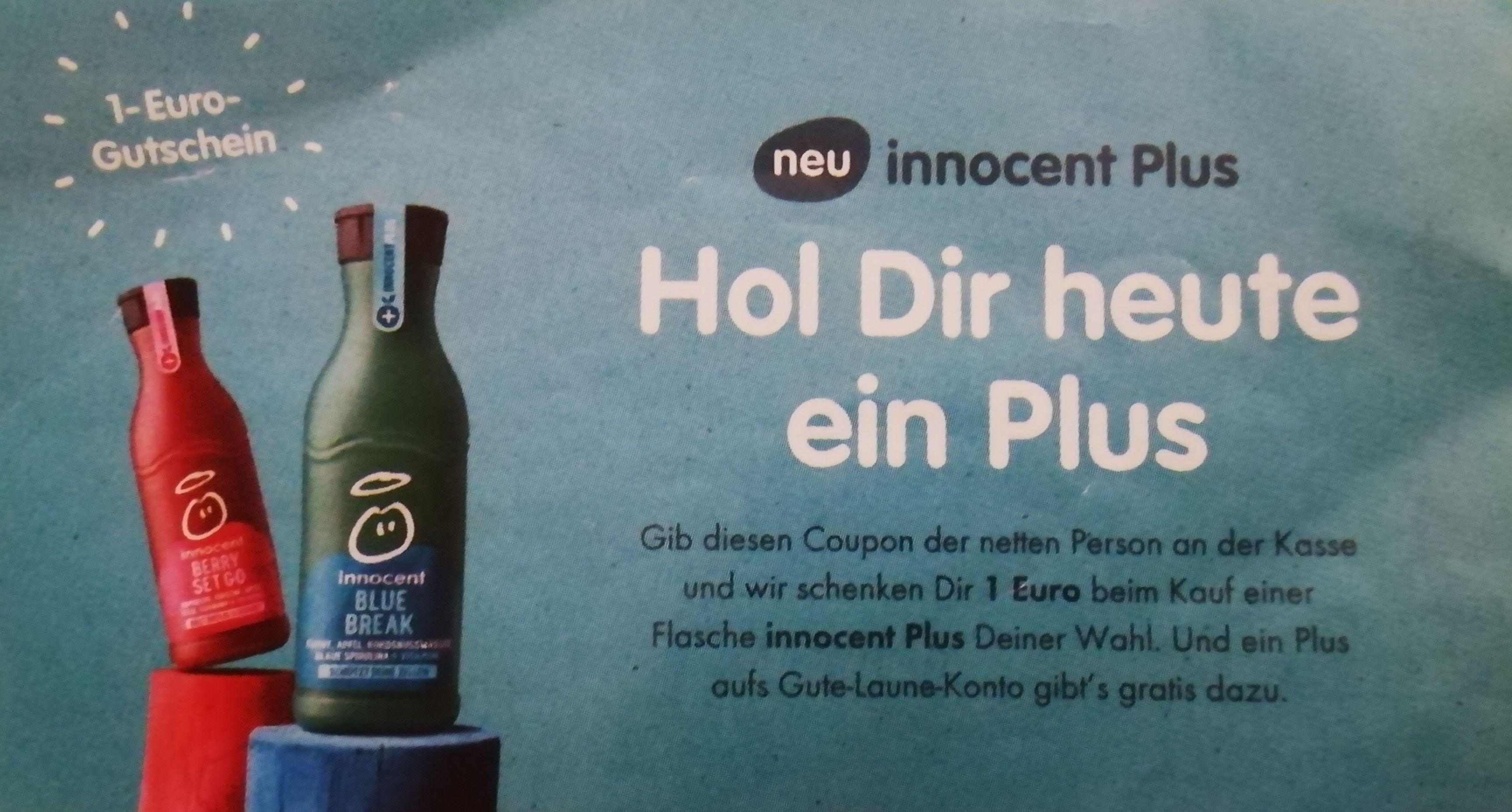 [Edeka +Marktkauf] 1€ Coupon für eine innocent Plus Flasche bis zum 31.12.2019