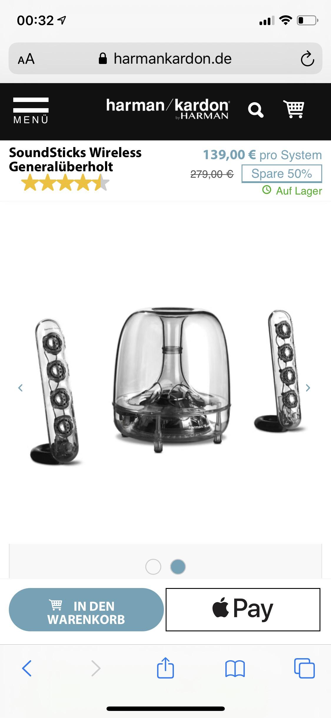 PC Lautsprecher harman/Kardon soundsticks III Wireless