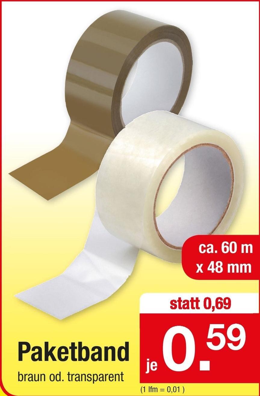 Paketband 60m x 48mm, braun oder transparent, die Rolle für 59 Cent [Zimmermann]