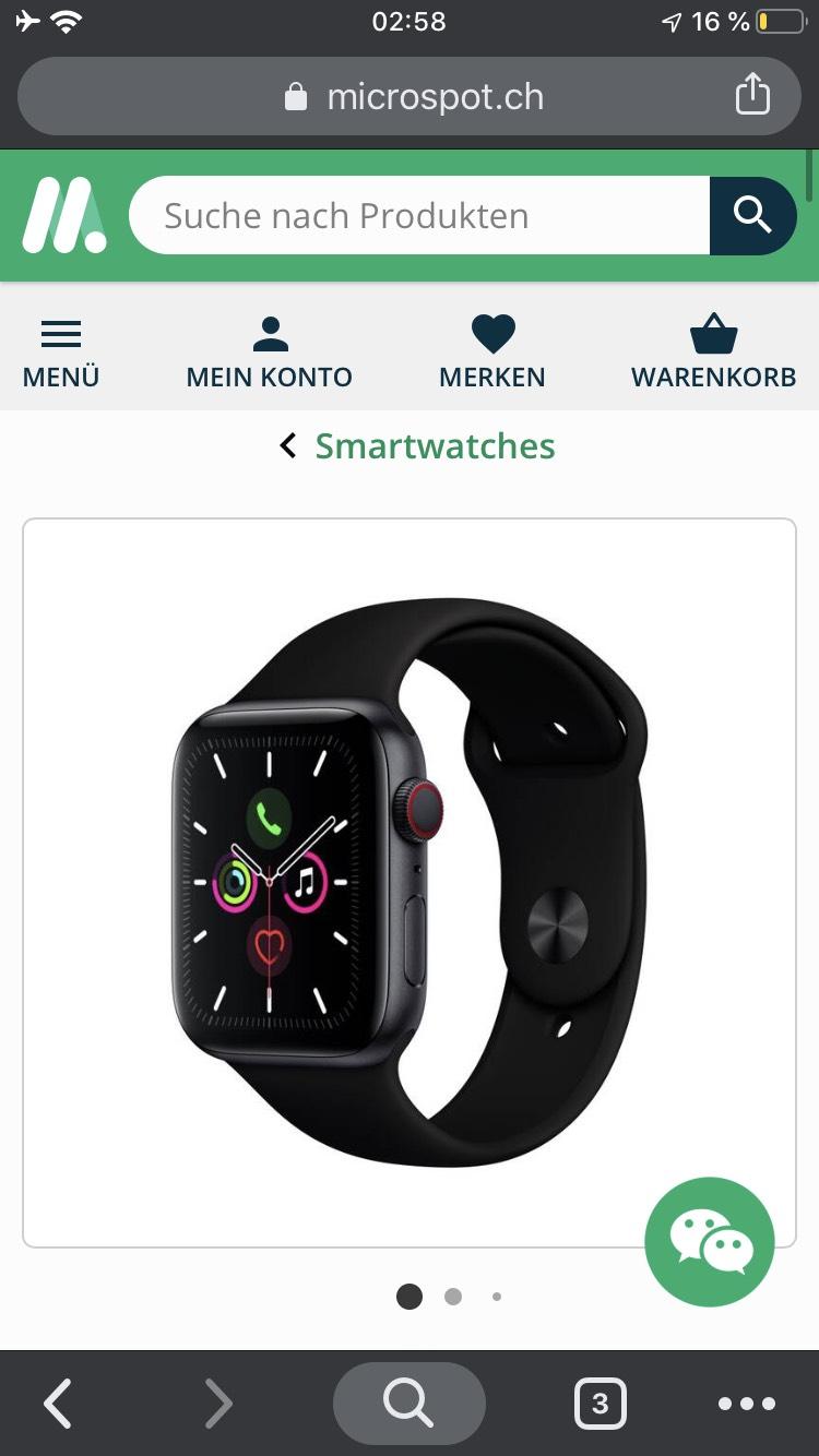 (Schweiz) Microspot.ch Apple Watch 5, 44m, GPS + LTE