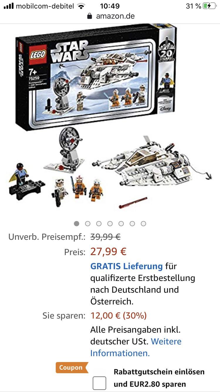 LEGO Star Wars 75259 - Das Imperium schlägt zurück Snowspeeder – 20 Jahre. FÜR PRIME-MITGLIEDER