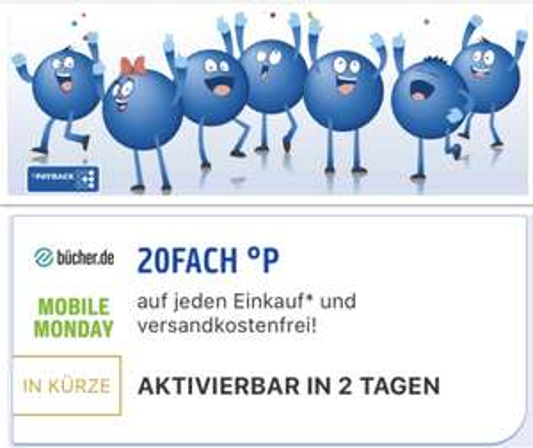 Mobile Monday: 20-fach Payback Punkte bei bücher.de - entspricht ca. 10% auszahlbarem Cashback!