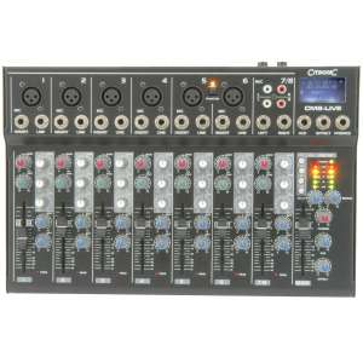 Citronic CM8-Live: Kompakt-Mischpult (Mic-/Line Eingang, 3-Band EQ, FX Loop, Integraler USB-/SD Spieler, +48V)