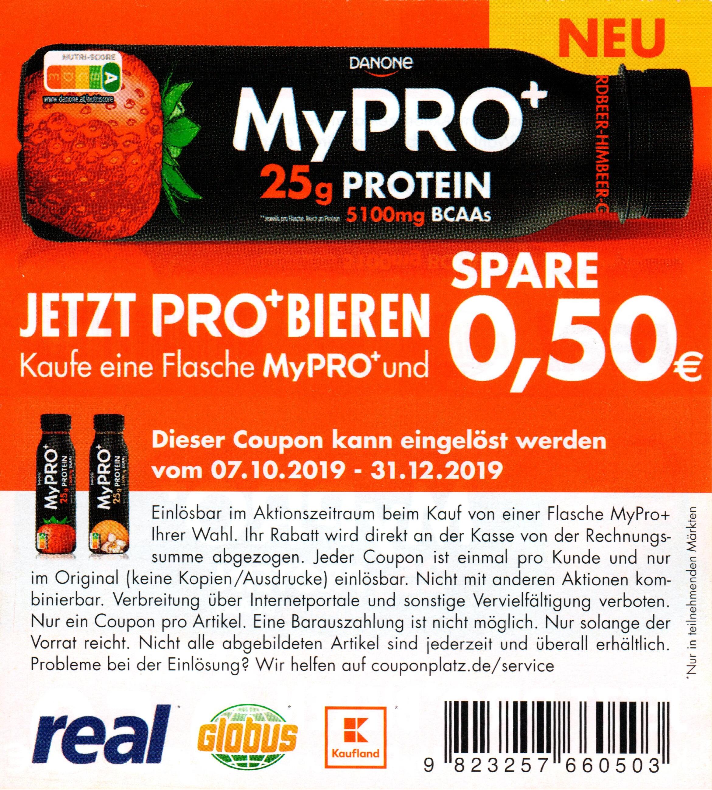 0,50€ Coupon für Danone MyPRO+ bis 31.12.2019 [Globus/Kaufland/Real]