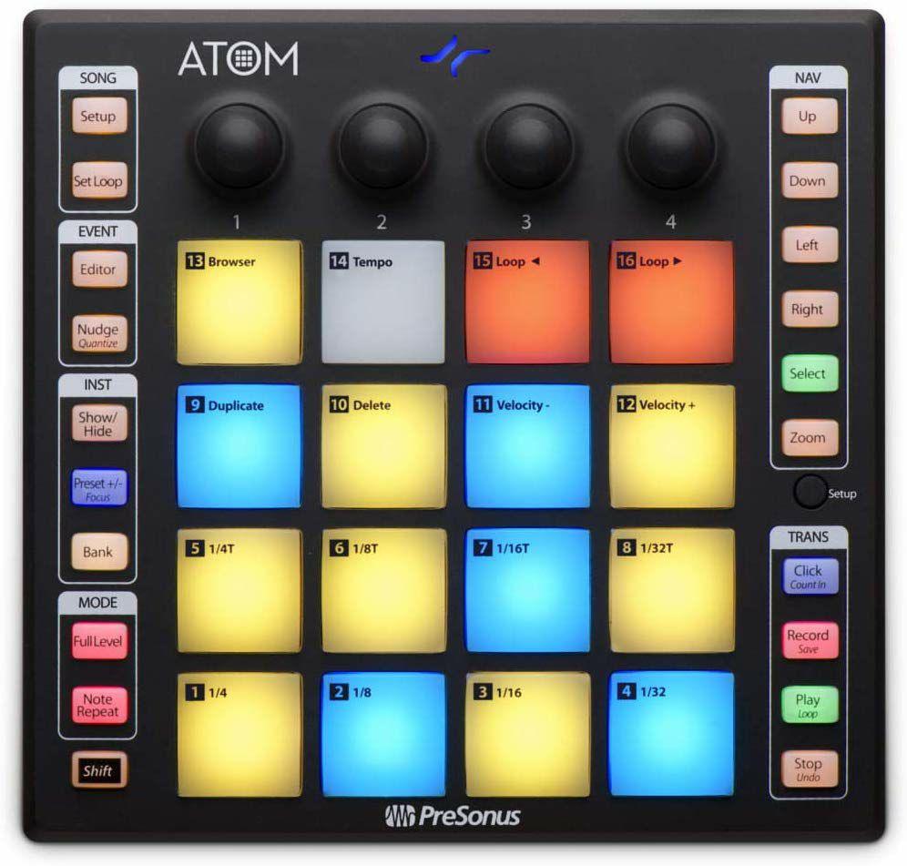 Presonus Atom: DAW-Controller (16 RGB Pads, 8 Pad Bänke, 20 Programmierbare Tasten, enthält Software)