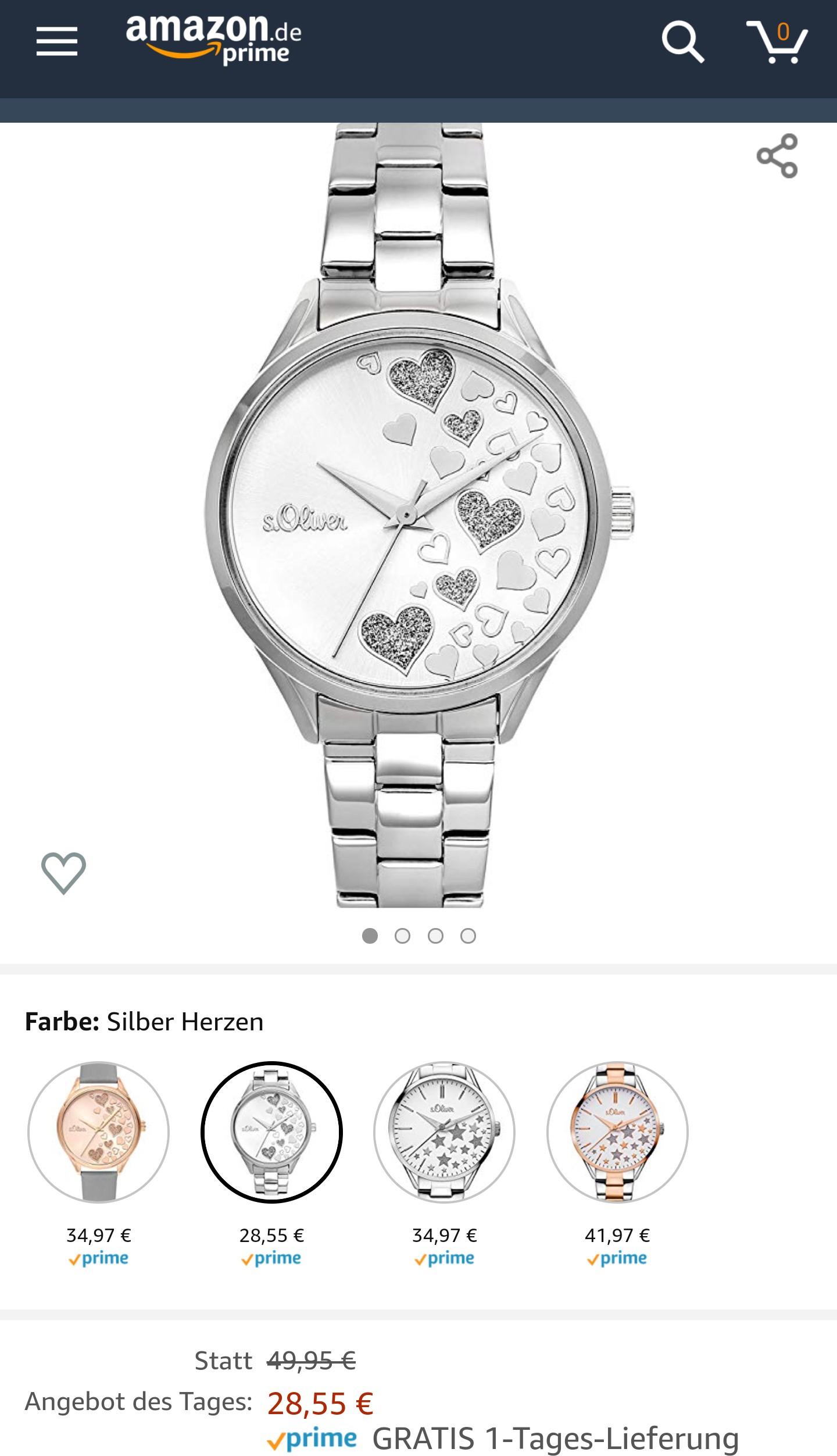 Amazon - Angebot des Tages - s.Oliver Damenuhr mit Edelstahlarmband SO-3599-MQ