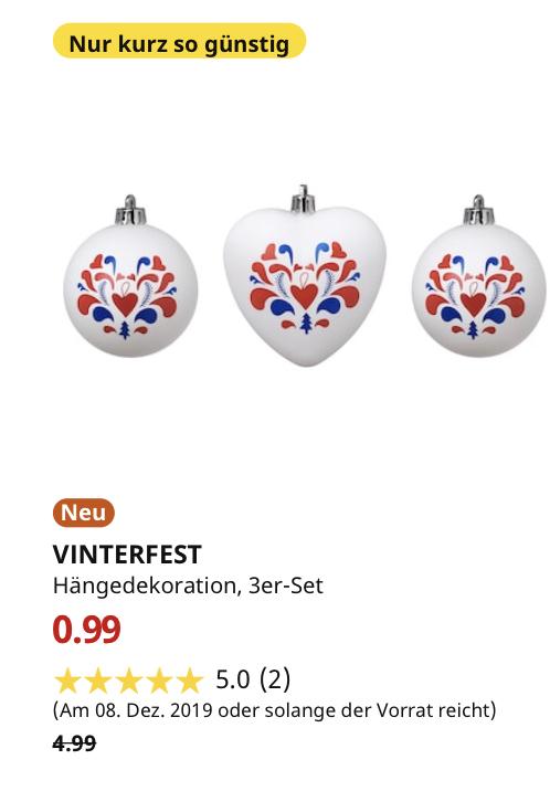 (IKEA Dresden 08.12.19) VINTERFEST Hängedekoration, 3er-Set, gemustert, weiß