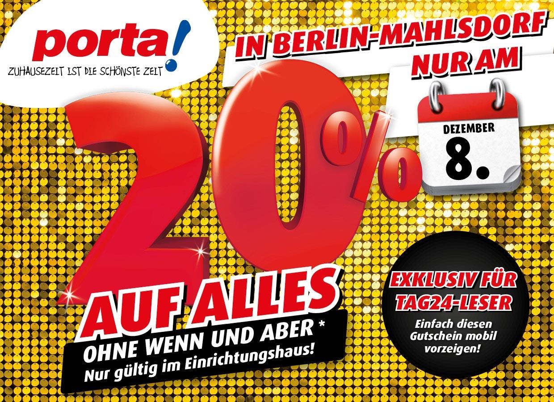 20 Prozent auf alles bei Porta in Mahlsdorf - nur am 08.12.2019