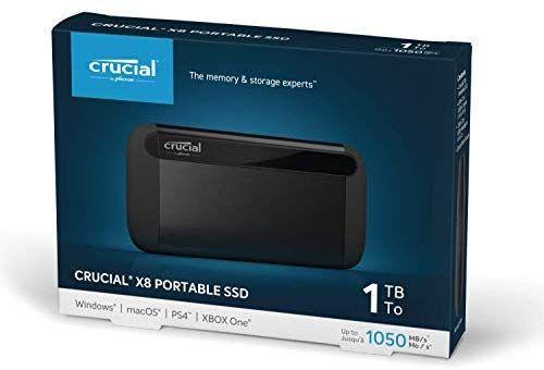 Crucial CT1000X8SSD9 1TB X8 Portable SSD – Bis zu 1050MB/s – USB 3.2 – USB-C, USB-A [Amazon]