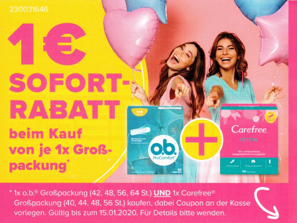 1,00€ Coupon für den Kauf einer Packung Carefree und einer Packung o.b. bis 15.01.2020