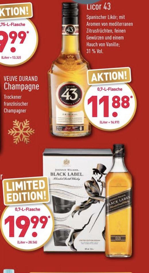 Aldi Nord/Süd Licor 43 / Johnnie Walker Black Label Scotch Whisky inkl. 2 Gläsern