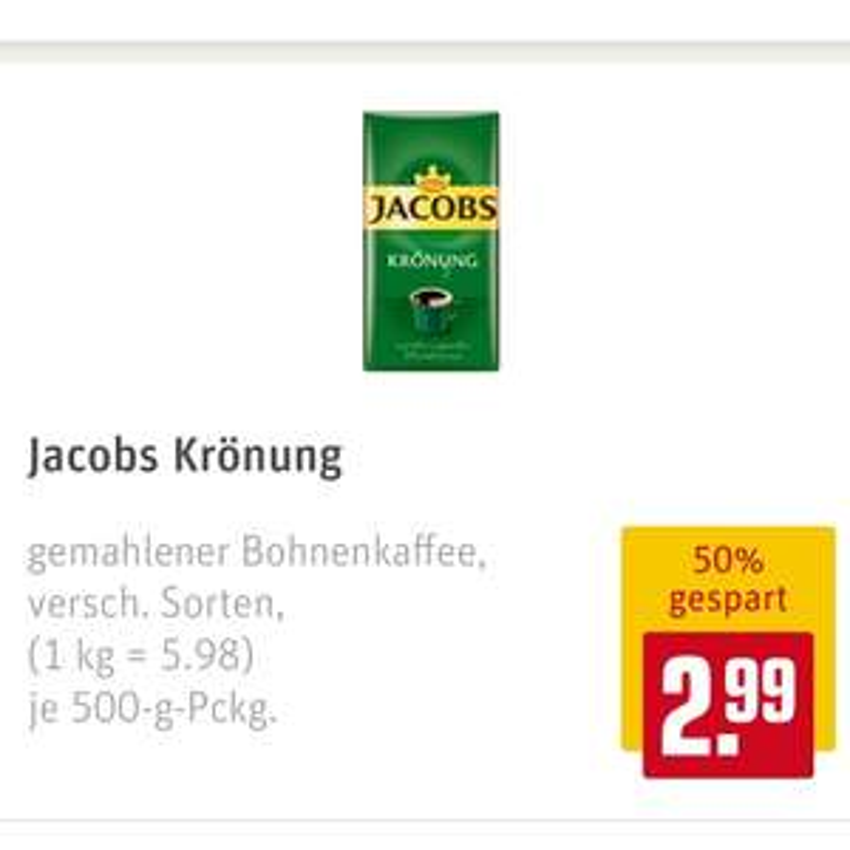 Jakobs Krönung gemahlener Kaffee bei Rewe ( Payback )Netto Edeka Penny bundesweit in teilnehmenden Märkten