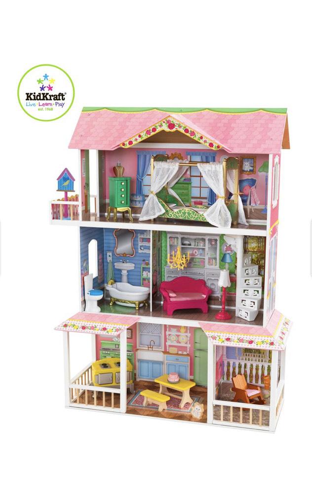 Kidkraft® Puppenhaus aus Holz Sweet Savannah inkl. 14-teiliges Zubehör-Set