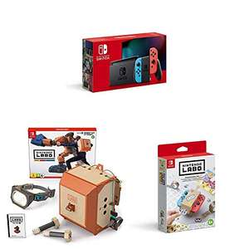 [Amazon Prime]Nintendo Switch Konsole - Neon-Rot/Blau (neue Edition) inkl. Labo Robo-Set und Design Paket