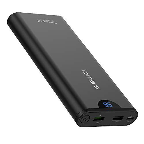 [Amazon] Omars Powerbank 20000mAh mit 3 Ausgängen - 2xUSB (3A max. Quick Charge 3.0) & 45W Type C PD Schnellladefunktion