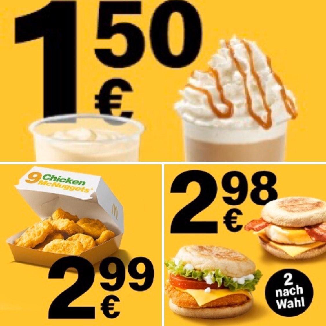 McDonald's App: McFrappé/Milchshake regular nach Wahl für 1,50€ | 9 Chicken McNuggets für 2,99€ | 2 McMuffin nach Wahl für 2,98€