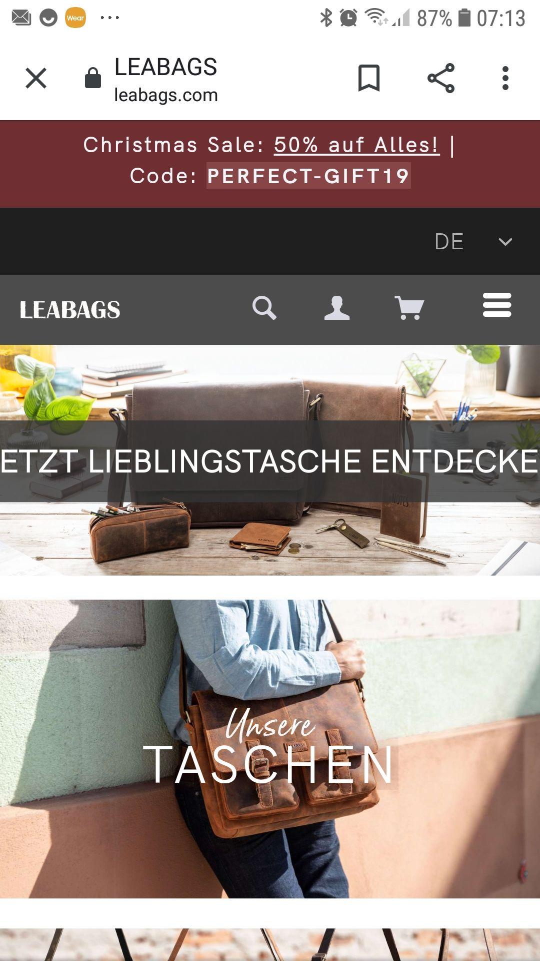 Leabags Taschen und Accessoires, Christmas Deal - wieder 50% Aktion auf alles.